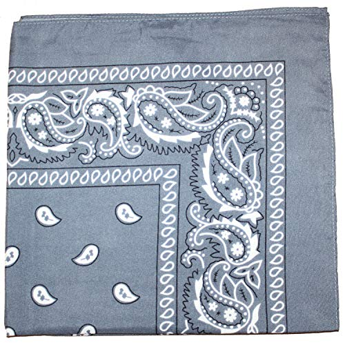 Pack of 12 Paisley 100% Cotton Bandanas Novelty Headwraps - Dozen Available in Many Colors - 22 inches (Grey)