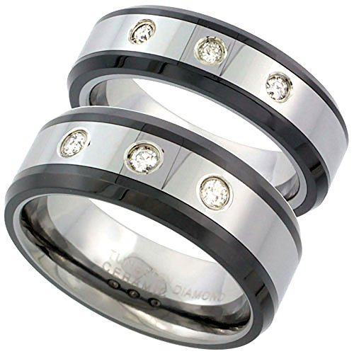 2-Ring Set 6 & 8mm Tungsten 3 Stone Diamond Wedding Ring Beveled Black Ceramic Edges Comfort fit, size 8