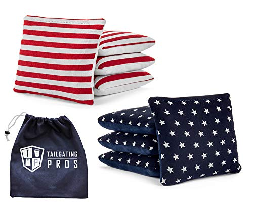 Tailgating Pros Pro-Style Two-Sided Cornhole Bags Stars w/Navy Suede Stripes w/White Suede & Bag Tote - Slick & Stick - All Weather - Set of 8