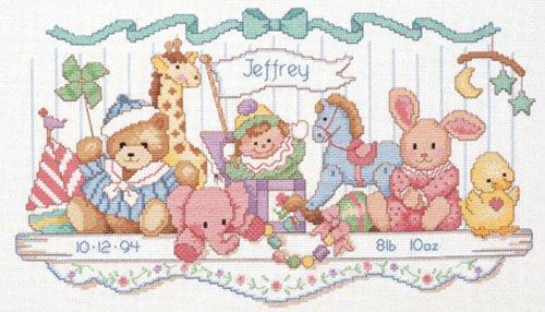 Brand New Toy Shelf Birth Record Counted Cross Stitch Kit-16