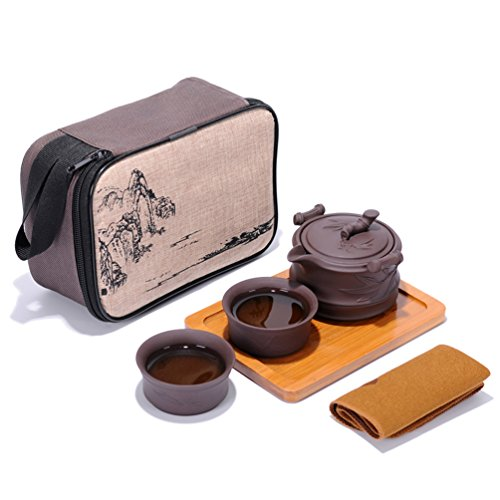 Portable Travel Kungfu Zisha Tea Set, Handmade Purple Clay Teapot Teacups, Traditonal Chinese Style(Purple Clay- Bamboo Style)