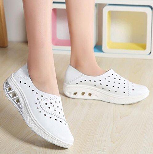 Color 2018 Zapatos 37 Mujeres con Cuero Mujeres Las de Deportivos de tamaño Zapatos del Plata Zapatos los de tamaño talón Ocasionales Gran de Blanco Las wWAwarqR