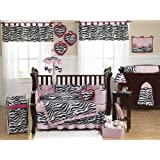 Pink, Black and White Funky Zebra Animal Print Baby Girl Bedding 9pc Crib Set by Sweet Jojo Designs
