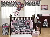 Sweet Jojo Designs Pink, Black and White Funky Zebra Animal Print Baby Girl Bedding 9pc Crib Set