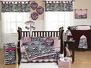 Pink, Black and White Funky Zebra Animal Print Baby Girl Bedding 9pc Crib Set by Sweet Jojo Designs
