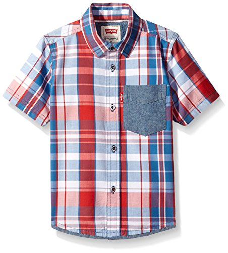 Levi's Big Boys' Short Sleeve One Pocket Plaid Shirt, Mars Red, 5