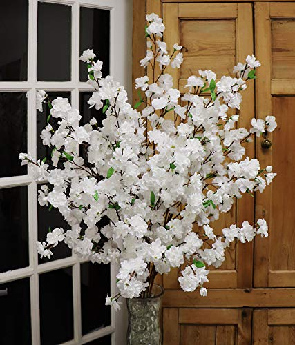 Larksilk 36'' Tall Artificial Cherry Blossom Branches - White Silk Flowers for Floral Arrangements Wedding Decor(3 Pieces) -