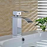 FChome Waterfall Bathroom Sink Faucet , Brass Single Hole Mixe Tap Deck Mounted, Polished Chrome