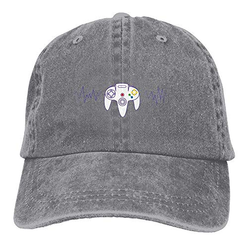 DEFFWB Hat Heartbeat of A Gamer Denim Skull Cap Cowboy Cowgirl Sport Hats for Men Women