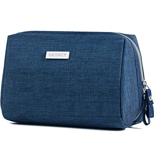 Large Makeup Bag Zipper Pouch Travel Cosmetic Organizer for Women and Girls (Large, Navy Blue)