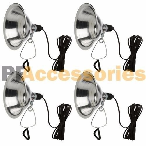 "Price comparison product image 4 Pcs Heavy Duty 8-1/2"" Aluminum Reflector Shade Clamp on Work Light Lamp ETL"
