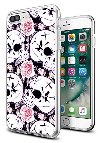 i8 Plus Case Skull,i7 Plus Case Skeleton,Gifun [Anti-Slide] and [Drop Protection] Clear Soft TPU Premium Protective Case for iPhone 8 Plus/for iPhone 7 Plus- White Rose with Skeleton ()