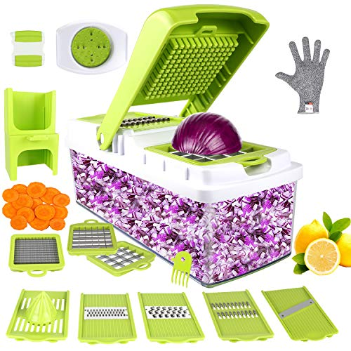 Vegetable Chopper, ONSON Food Chopper Cutter Onion Slicer Dicer, 10 in 1 Veggie Slicer Manual Mandoline for Garlic, Cabbage, Carrot, Potato, Tomato, Fruit, Salad ()