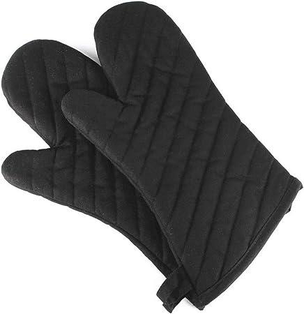 LNYJ Guantes Guantes 1 Pc Horno Horno guantes de algodón poliéster Negro sarga Espesar calor cocina barbacoa guantes resistentes Utensilios: Amazon.es: Hogar