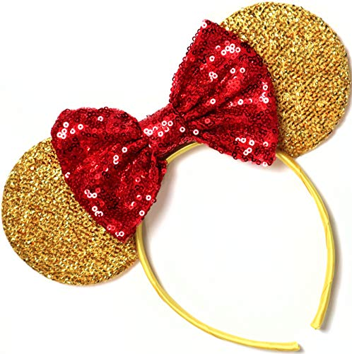 Beauty and the Beast Ears, Belle Ears, Belle Mickey Ears, Disney Inspired Beauty and the Beast Ears, Gold Minnie ears, ()