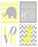 The Kids Room by Stupell Yellow and Grey Chevron Elephant and Giraffe Typography 4-Pc. Rectangle Wall Plaque Set