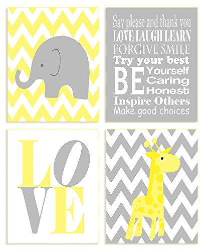 The Kids Room By Stupell Yellow And Grey Chevron Elephant And Giraffe Typography 4-Pc. Rectangle Wall Plaque Set, Proudly Made in USA by The Kids Room by Stupell