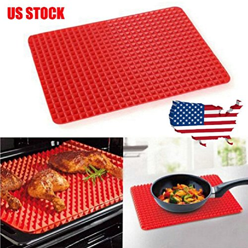 5Pcsx Oven Baking Tray Pyramid Pan Non Stick Fat Reducing Silicone Cooking Mat
