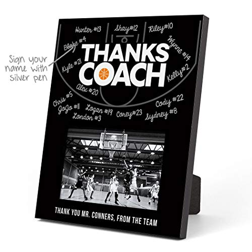 ChalkTalkSPORTS Personalized Basketball Photo Frame | Coach (Autograph) Picture Frame | Black