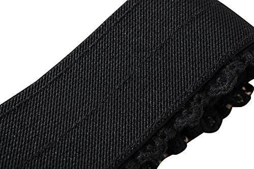 TRENDY XU Lace Wide Decorative Waist Belts Elastic Interlocking Buckles Waistband (Black) by Dress Waistbands Belt (Image #3)