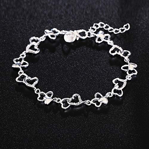- Nitlovely Beautiful Gorgeous Women Bracelet Heart Lovely Crystal Chain Fashion Wedding Party Silver Cute Lady Nice Bracelet Jewelry LH007