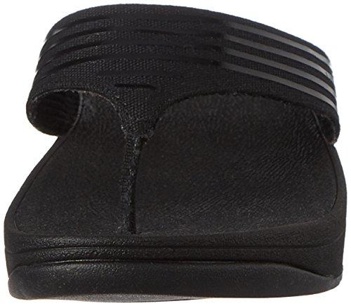 FitFlop Womens Ringer Toe-Post Textile Sandals Black
