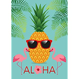 ALAZA Aloha Pineapple And Sunglasses Polyester Garden Yard Flag Banner,Fruit and Animal Summer Decorative Flag for Wedding Home Farm House Outdoor Garden Decor 28x40 inch