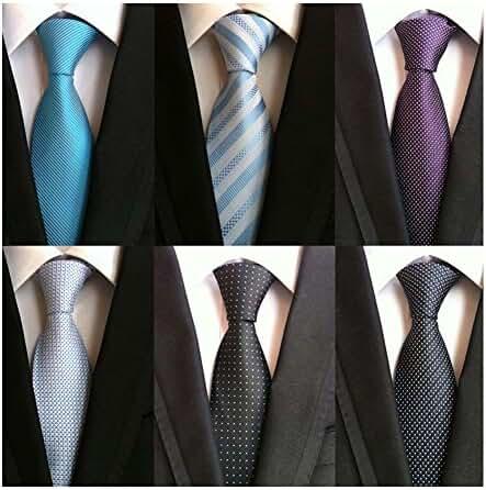 WeiShang Lot 6 PCS Classic Men's Tie 100%Silk Necktie Woven JACQUARD Neck Ties