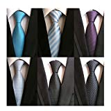 WeiShang Lot 6 PCS Classic Men's 100% Silk Tie Necktie Woven JACQUARD Neck Ties (Style 16)
