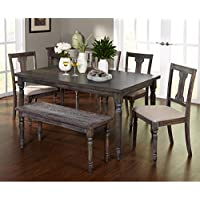 Simple Living 6pc Burntwood Dining Set with Dining Bench