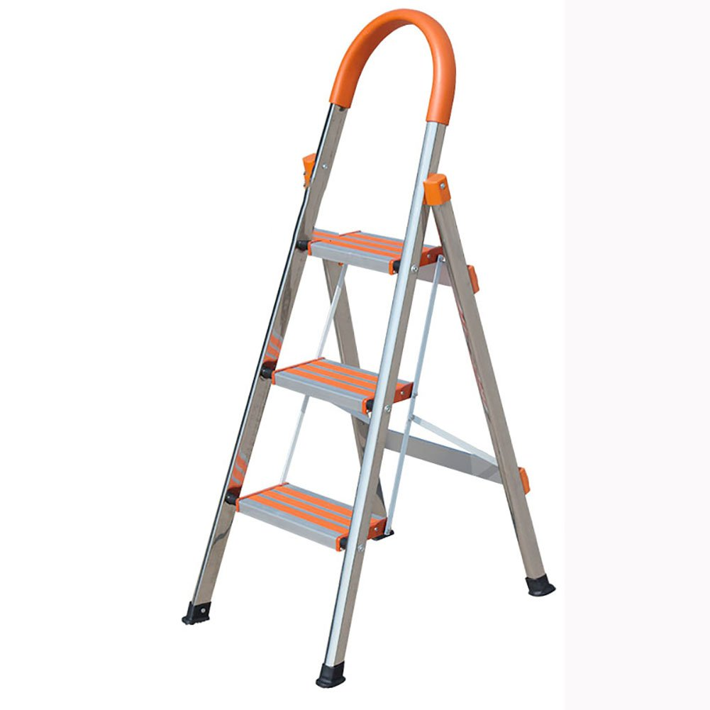 A DQMSB Folding Portable 3 Ladder Safety Rails Stainless Steel Household Ladder Thick Non-Slip Indoor Engineering Ladder Wide Pedal Escalator Step Stool (color   A)