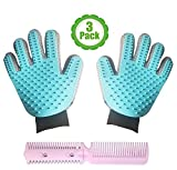 Bemix Pets Pet Grooming Glove Kit, Set Of 3, Cat Dog Gift Set, Hair Remover, For Long and Short Hair Grooming of Dogs, Horses, Cats, Bunnies, Left & Right Gloves, By