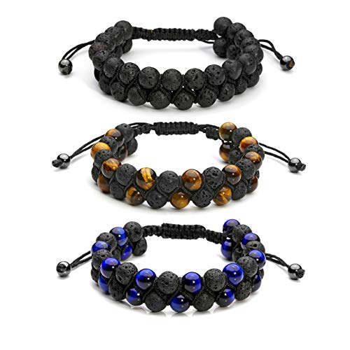 Top Plaza 3 Pcs Men Women 8mm Lava Rock Stone Aromatherapy Essential Oil Diffuser Bracelet Braided Rope Natural Stone Yoga Beads Bracelet - Lava Stone + Tiger Eye Stone