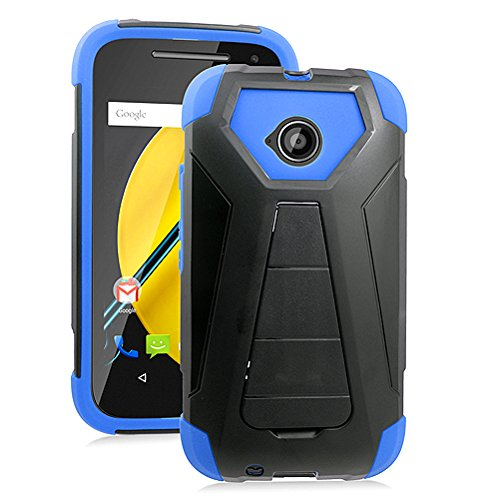 (Motorola Moto E LTE XT1527 (2015, 2nd Generation), Luckiefind Hybrid Dual Layer Cover Case with Stand with Stylus Accessory (Stand Blue))