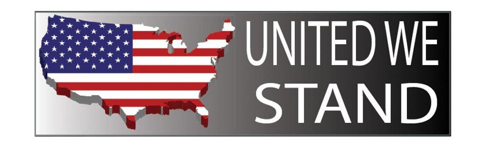 Rogue River Tactical RR-1060 United We Stand 10x3 Patriotic Bumper Sticker Auto Decal Conservative Republican United We Stand USA Flag American Patriot