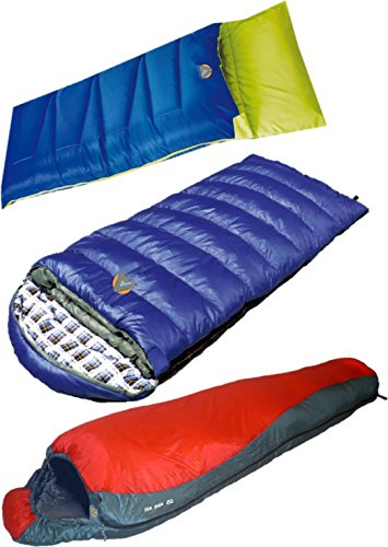 High Peak USA Alpinizmo Pilot 0 + Kodiak 0 + Lite Pak 20 sleeping bag combo set, Blue/Red, One Size For Sale