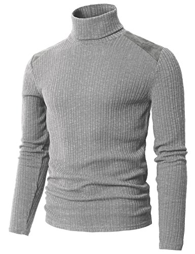 ong Sleeve Turtle Neck Top Pullover Gray US S/Asia M (CMTTL099) ()