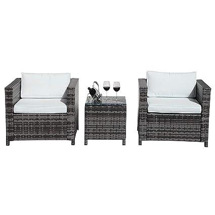 Amazon.com: PATIORAMA Juego de muebles de patio de 3 piezas ...