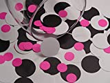 Black White and Hot Pink Paper Confetti Dots - Die Cuts - Scrapbooking Embellishments - 1 Inch and 1/2 Inch circles - Paper Punches (Set of 400 pieces)