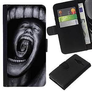 KLONGSHOP // Tirón de la caja Cartera de cuero con ranuras para tarjetas - Dientes Horror Terror Negro Spooky - Samsung Galaxy Core Prime //