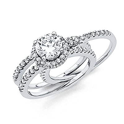 14K Solid White Gold Double Halo Solitaire with Round Side Stones Cubic Zirconia Wedding Engagement Ring, 2 Piece