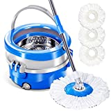 Masthome 360 Rolling Spin Mop And Stainless Steel Bucket With 3 Microfiber Mop