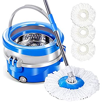 Amazon Com Spin Mop And Bucket With 3 Microfiber Mop