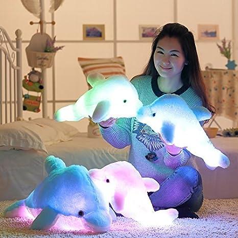MFEIR® Super niedlichen Meerestier kleine Stofftiere, funkelnden Delphin Plüschtier mit Mix Farbwechsel LED-Licht 45cm Blau