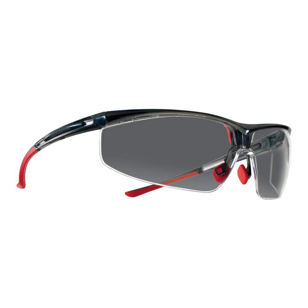 Honeywell 736566 Adaptec - Gafas protectoras (cristal gris, marco negro/rojo, protección antivaho)