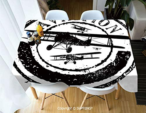 Picnic Tablecloth Grunge Stamp Design with Word Aviation and Airplane Silhouettes Decorative (60 X 84 inch) Great for Buffet Table, Parties, Holiday Dinner, Wedding & More.Desktop -