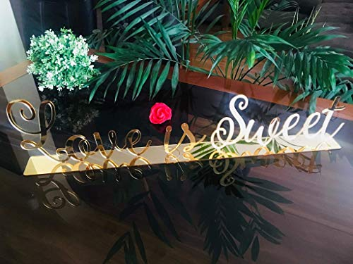 Personalized Love is Sweet Wedding Acrylic Cake Sign Sweetheart Table Wooden Letters Dessert Table Decor Laser Cut Signs Custom Reception Calligraphy Script Signage Wood Sign for Desserts Take a -