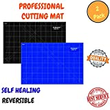 Self Healing Rotary Cutting Mat With Grids & Angle Indications For Optimal Precision – Double Sided, Thick & Durable Design, Ideal For Quilting, Scrapbooking & More- 2 Pack(Blue A3 & Black A1)