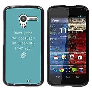 Be Good Phone Accessory // Dura Cáscara cubierta Protectora Caso Carcasa Funda de Protección para Motorola Moto X 1 1st GEN I XT1058 XT1053 XT1052 XT1056 XT1060 XT1055 // Blue Judge