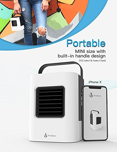 Anbber Portable Air Conditioner 4 in 1 Small Personal USB Air Cooler, Humidifier and Purifier, Desktop Cooling Fan with Breathing LED Night Light and 3 Speeds for Office Home Travel by Anbber (Image #1)